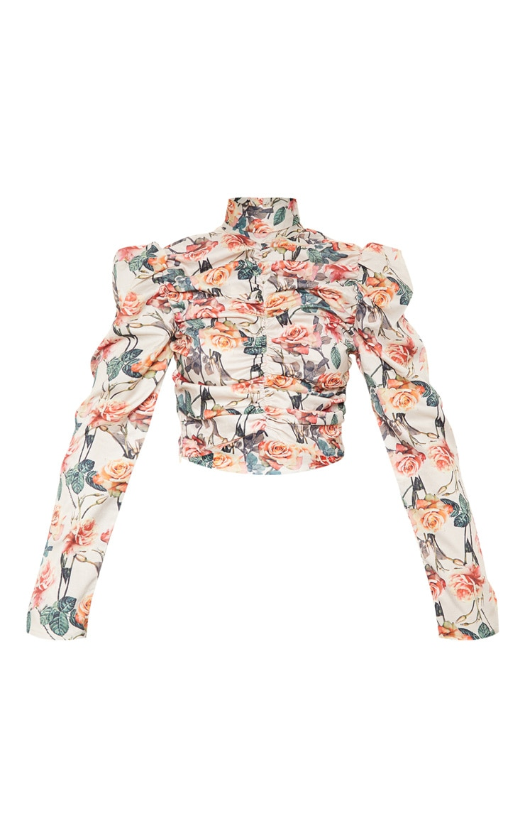 White Floral Printed Ruched High Neck Top 4