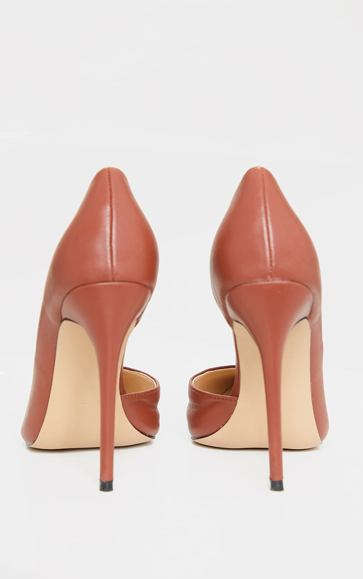 Chocolate Point Toe Cut Out Side Stiletto Court Shoes 4