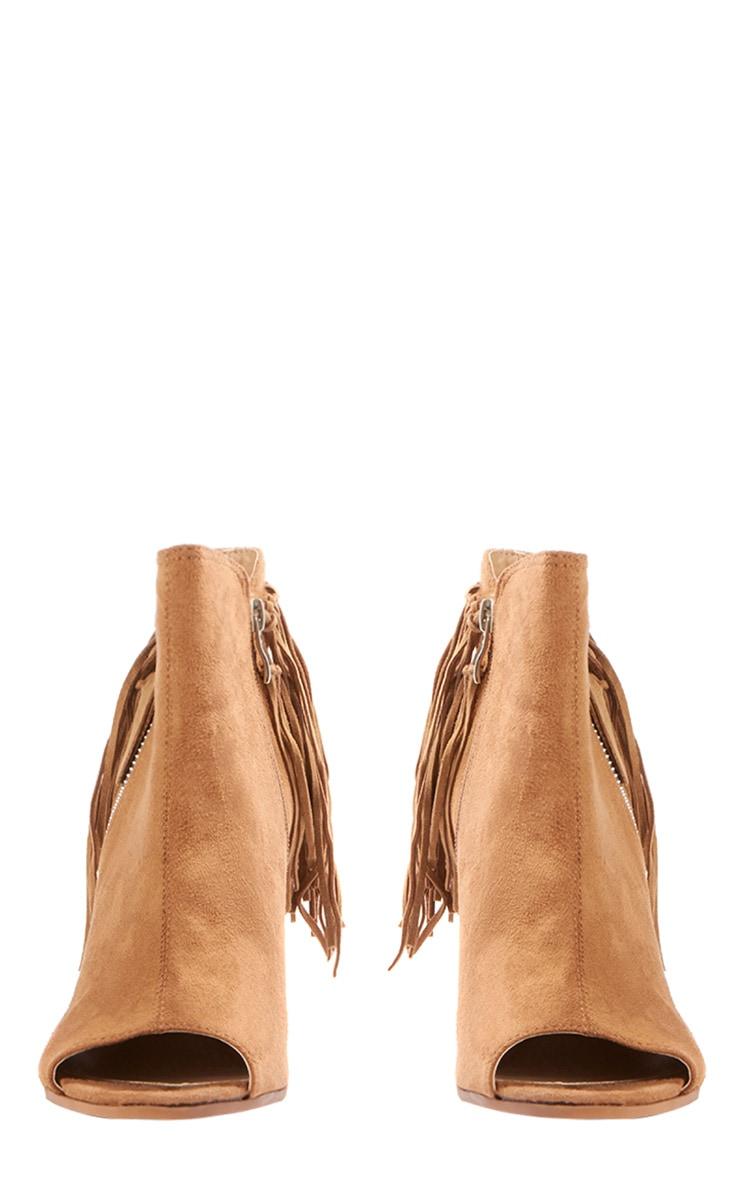 Cameron Camel Suede Fringe Heeled Boots 2