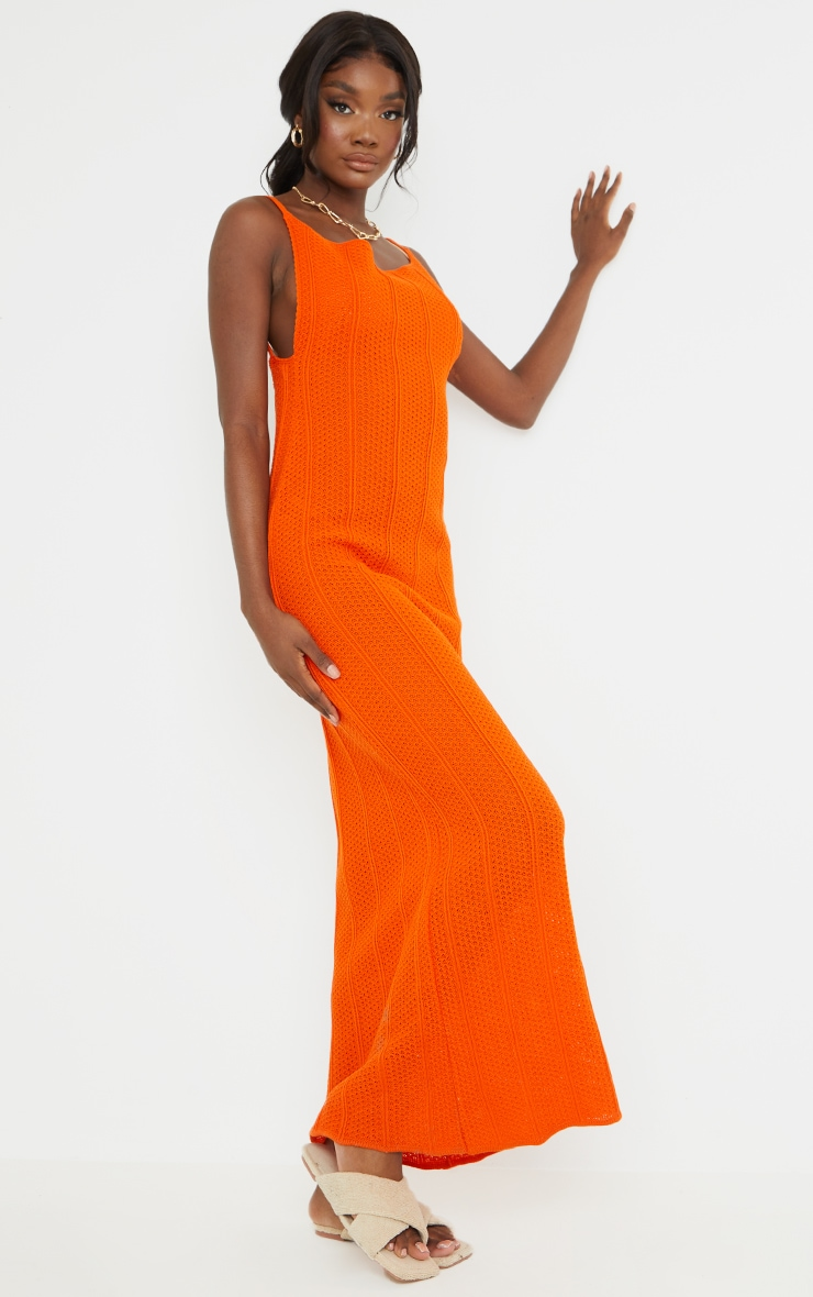 Tall Rust Knitted Low Back Extreme Side Split Maxi Dress 3