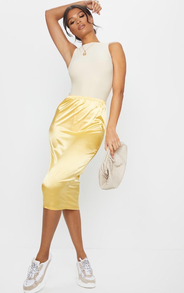 Golden Yellow Satin Midi Skirt 1
