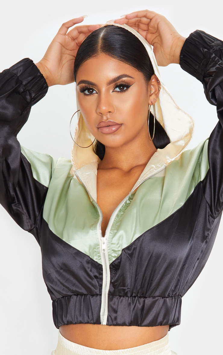 Khaki Satin Contrast Zip Up Hooded Bomber 1