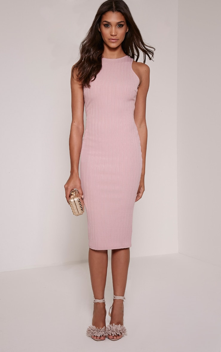 Jazmine Mauve Ribbed Midi Dress 1