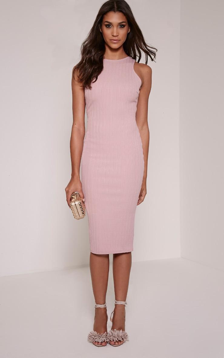 Jazmine Mauve Ribbed Midi Dress 1