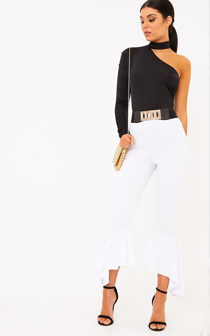 Paola Black Slinky Ruched One Sleeve Choker Thong Bodysuit 4