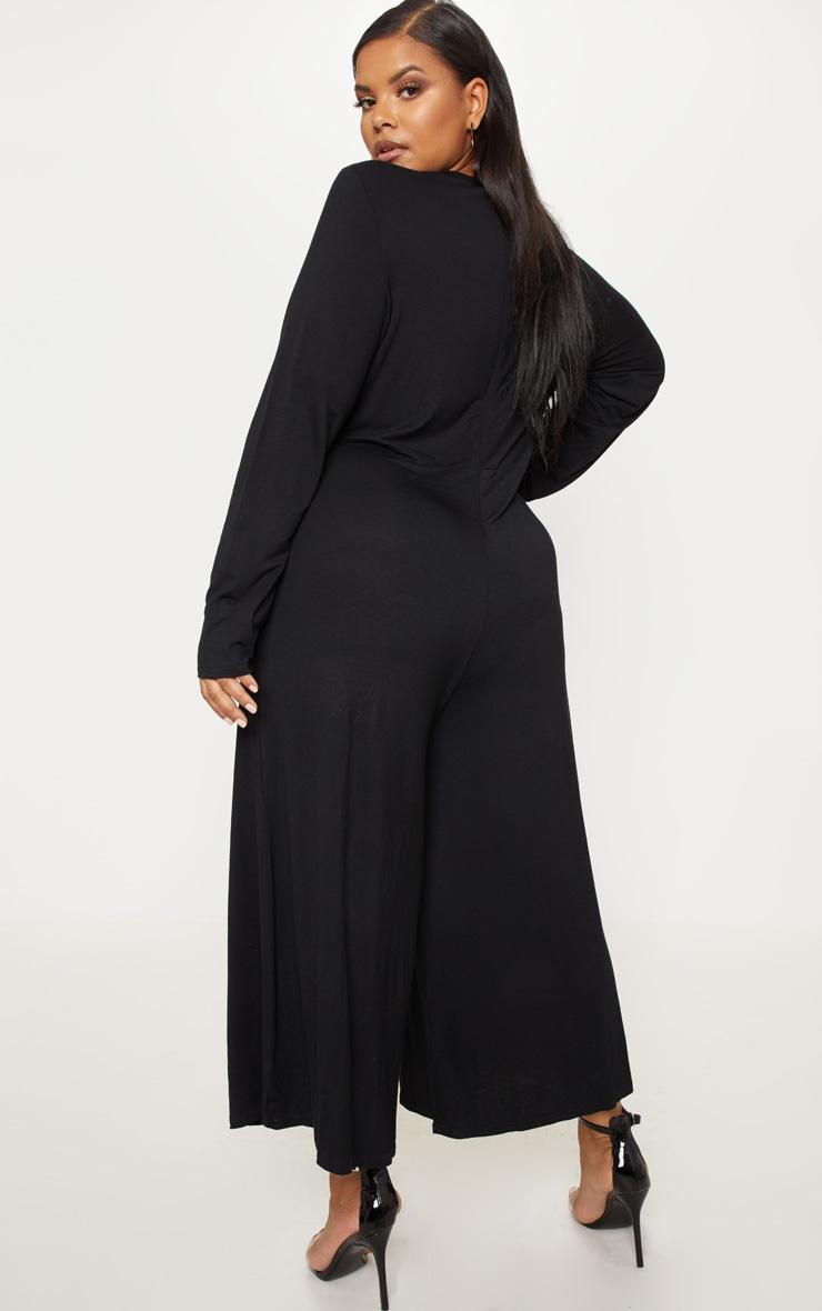 Plus Black Twist Front Culotte Jumpsuit 2