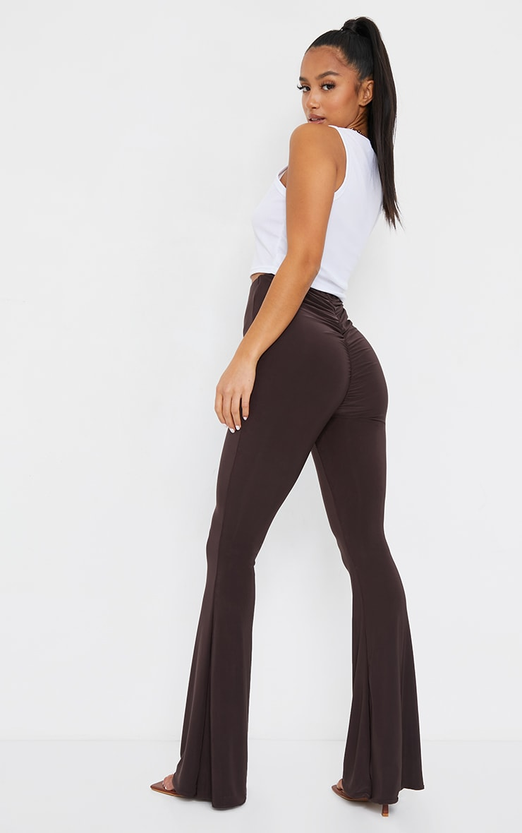 Petite Chocolate Flare Ruched Bum Slinky Pants 1