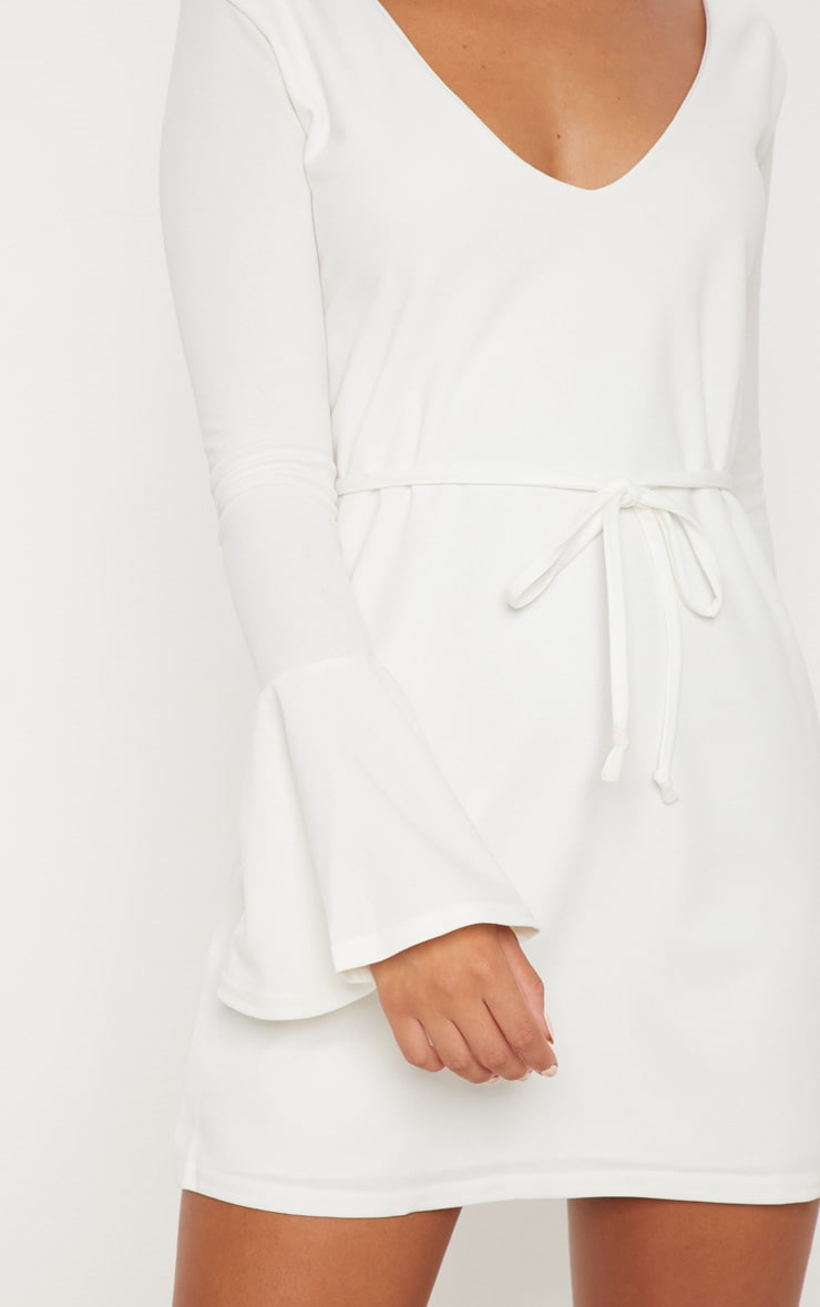 White Flared Sleeve Tie Detail Shift Dress 5