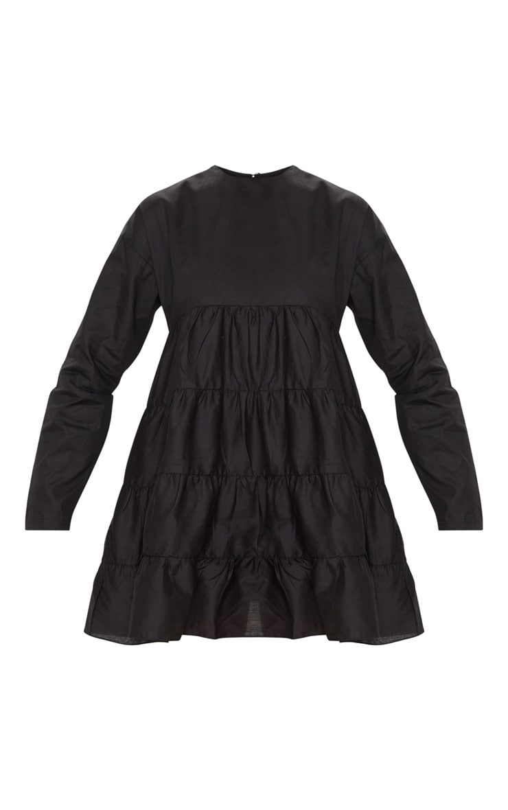Black Tiered Long Sleeve Crew Neck Smock Dress 3