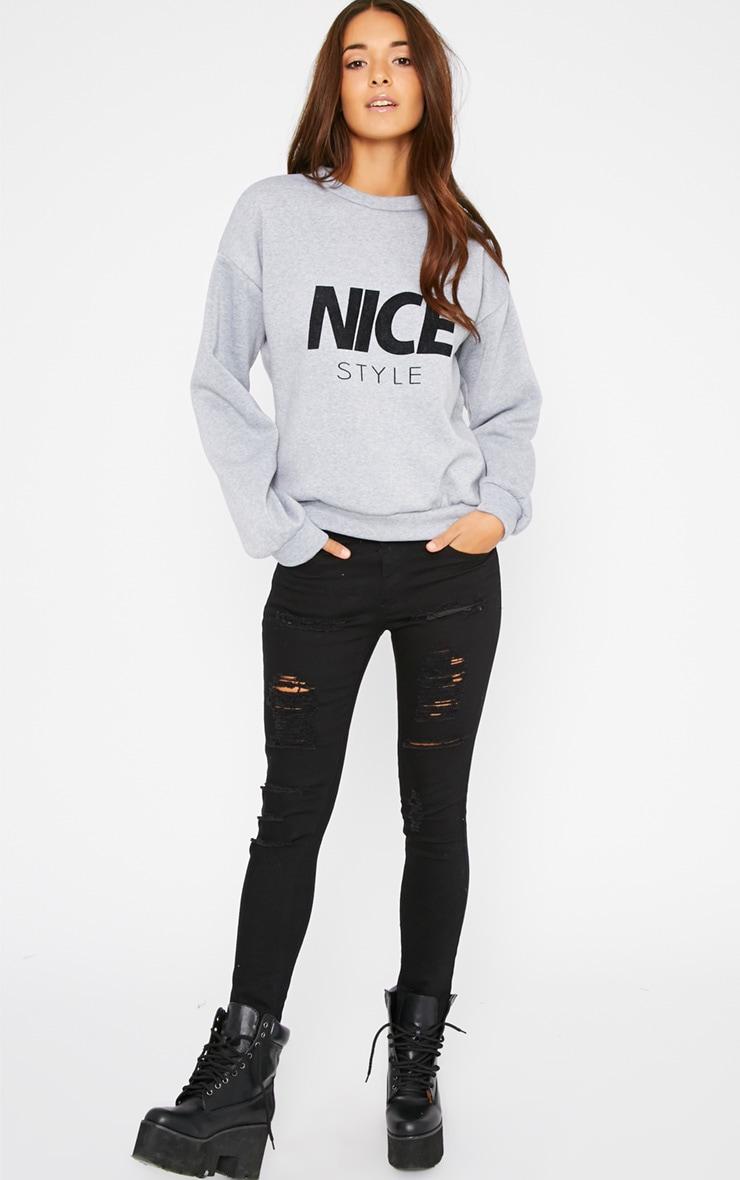 Lari Grey Nice Slogan Sweater  3
