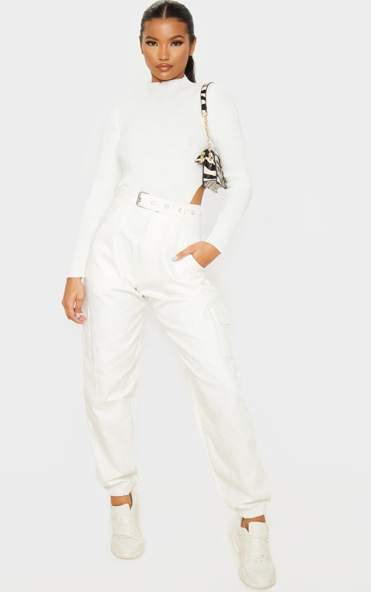 Cream Eyelet Detail Belted Cargo Trousers 1