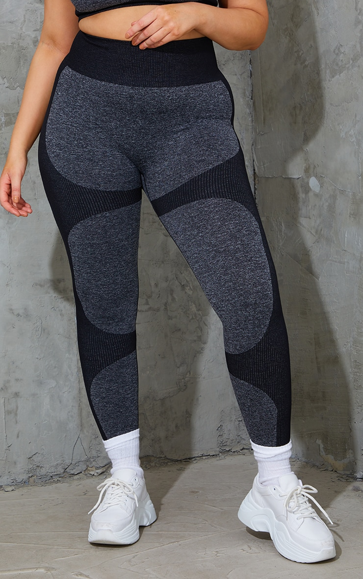 Plus Black Seamless 2 Tone Contour Leggings 2