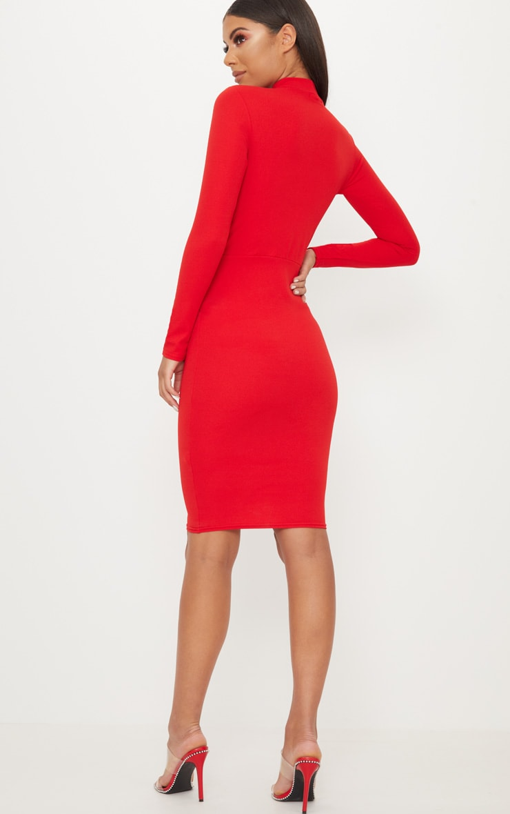 Red Keyhole Cut Out Midi Dress 2