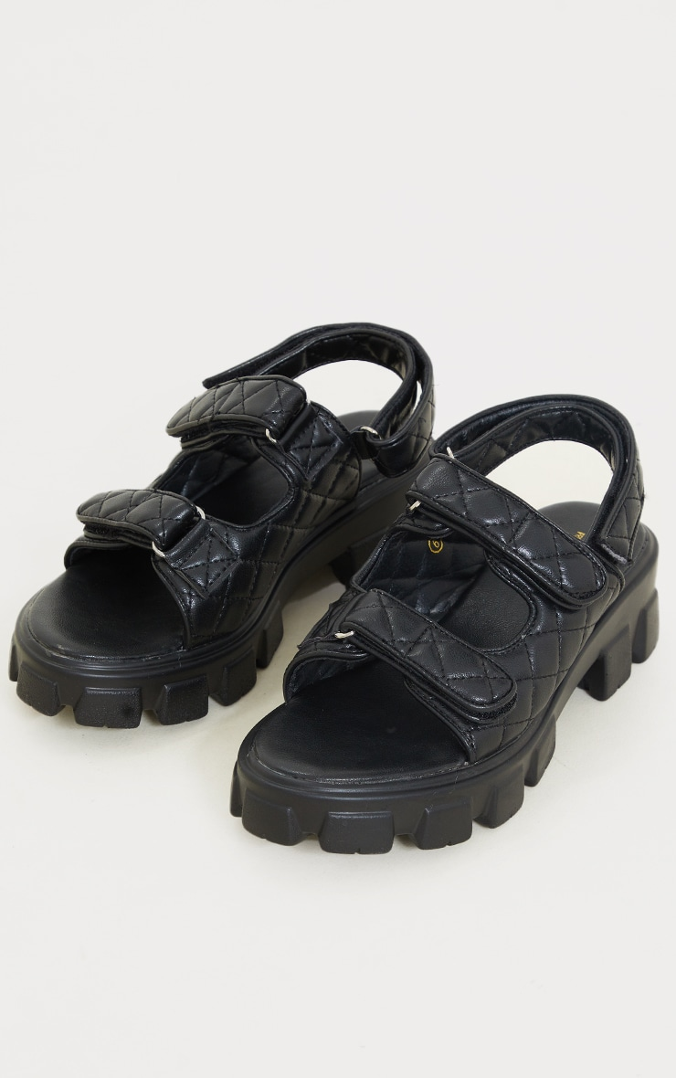 Black PU Quilted Velcro Strap Cleated Sole Sandals 3