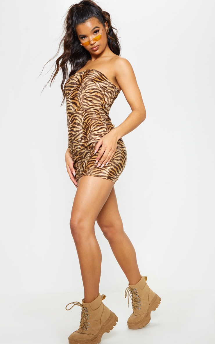 Tan Brushed Velvet Tiger Bandeau Bodycon Dress 5