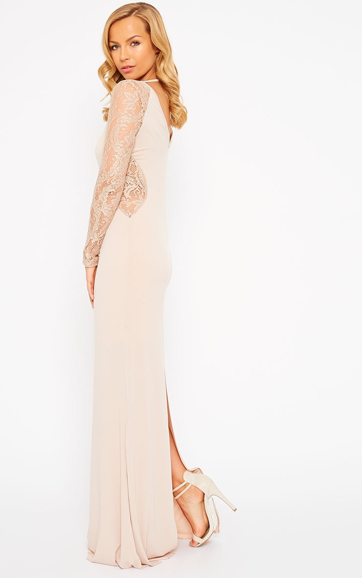 Debbie Nude Lace Insert Maxi Dress 4