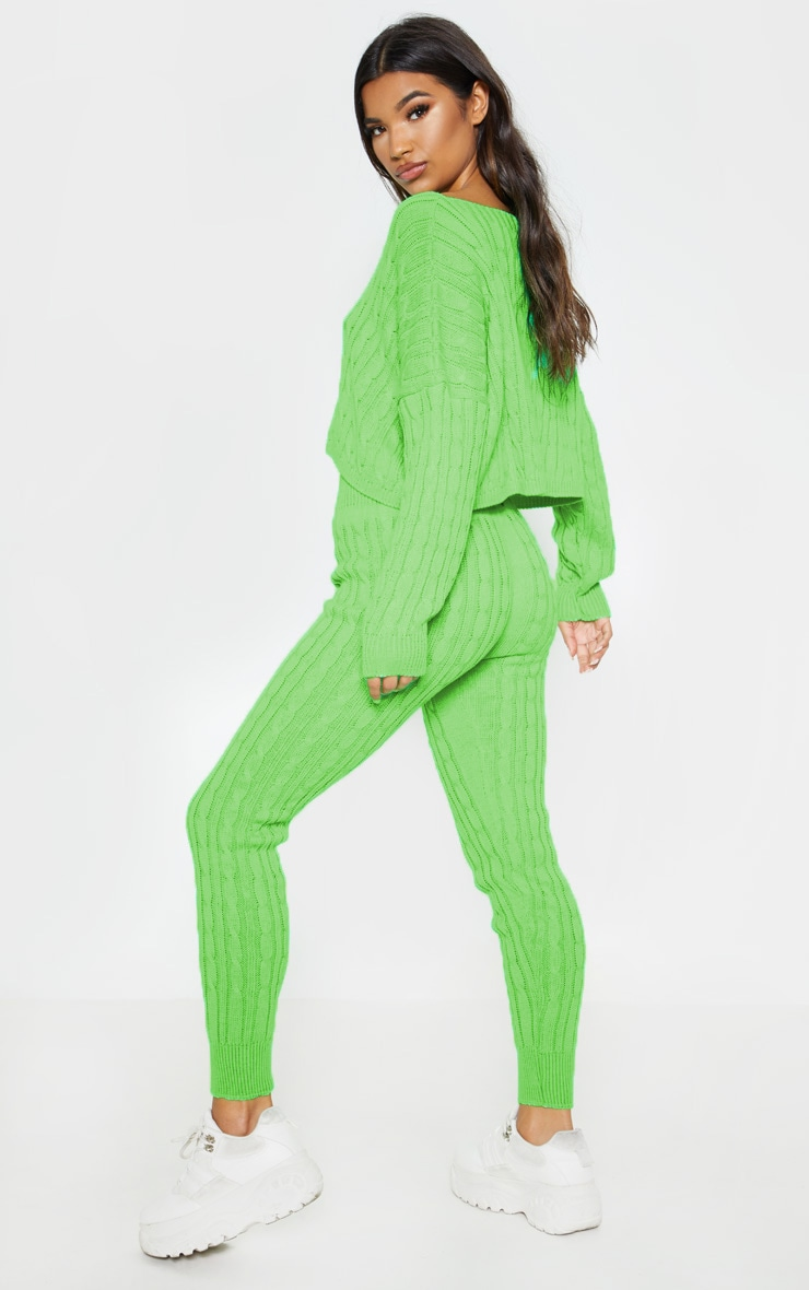 Neon Lime Cable Knit Jumper & Legging Set 2