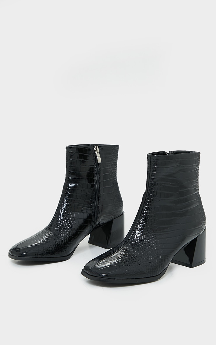 Black Square Toe Low Flare Block Heels Ankle Boot 3