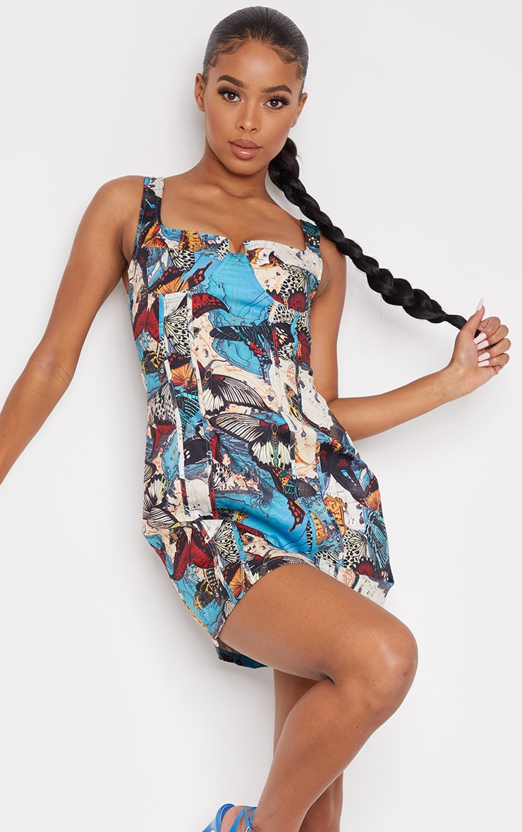 Multi Butterfly Print Sleeveless Binding Detail Lace Up Back Bodycon Dress 2