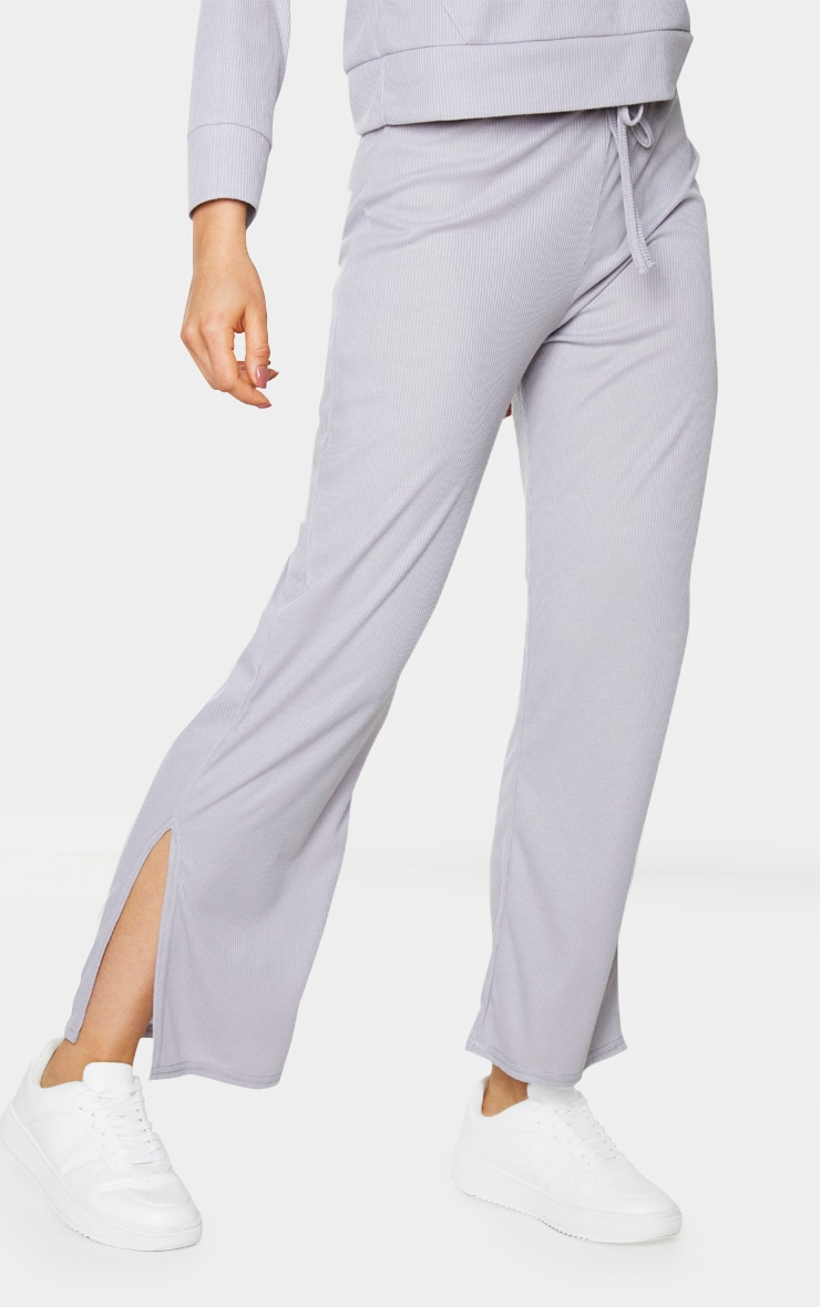 Tall Grey Ribbed Split Hem Flared Trousers 2