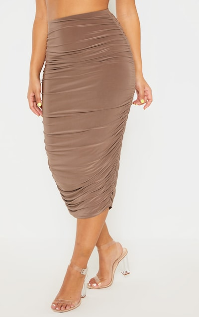 Taupe Slinky Second Skin Ruched Midi Skirt