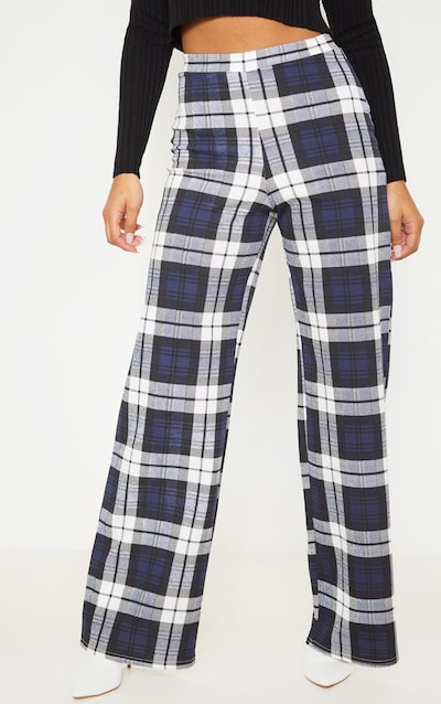 Blue Crepe Check Wide Leg Trousers