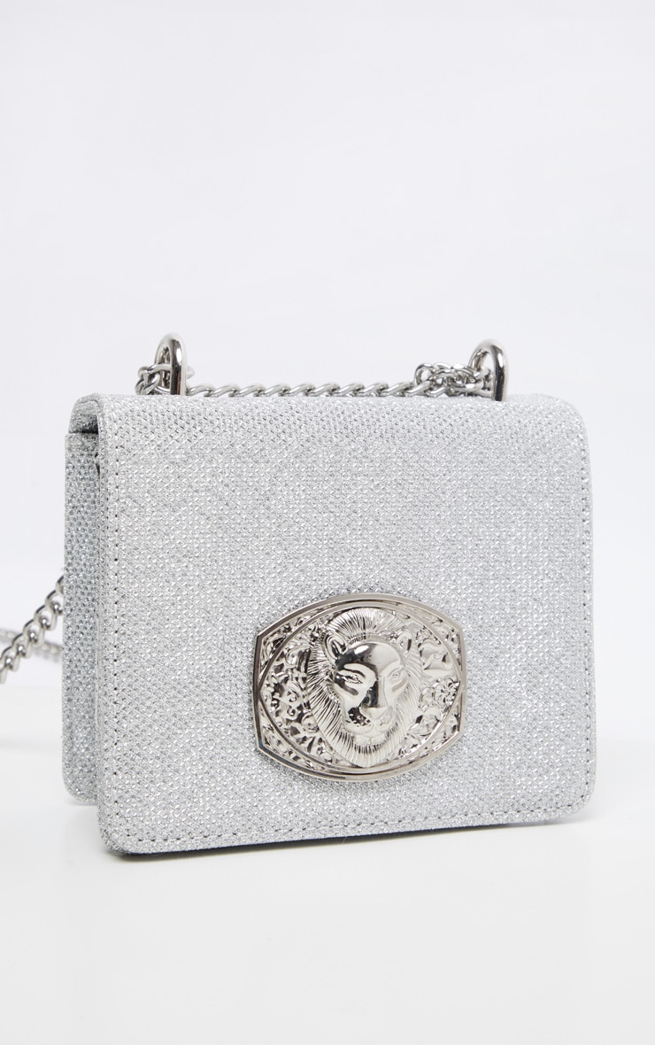 Silver Glitter Lion Head Trim Cross Body Bag 4