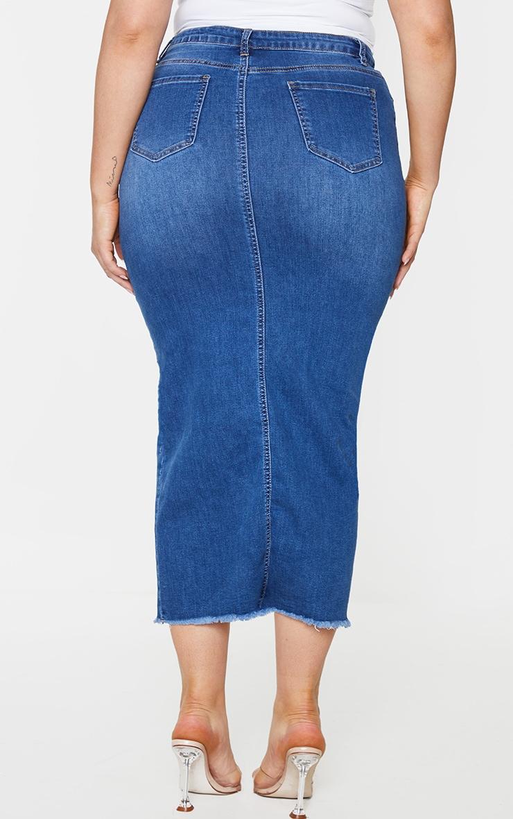 Plus Light Wash Denim Split Hem Midaxi Skirt 3