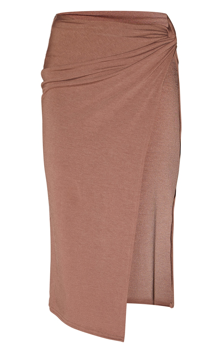 Recycled Chocolate Brown Contour Jersey Twist Front Midaxi Skirt 5