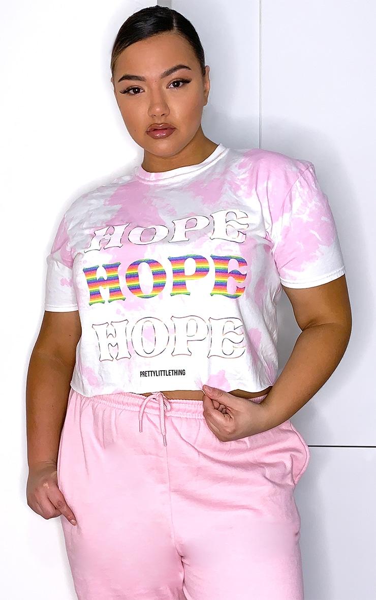 Plus Pink NHS Tie Dye Hope Crop T Shirt 1