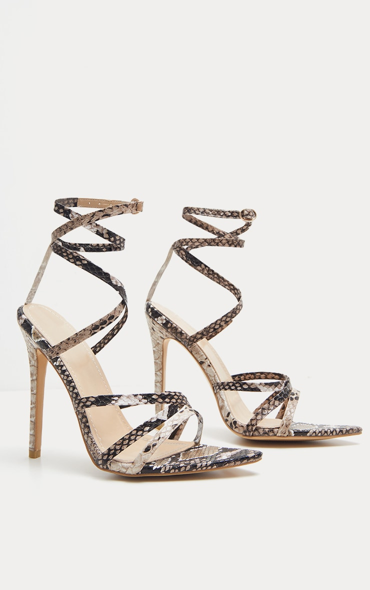 Snake Print Strappy Point Toe Sandal 3