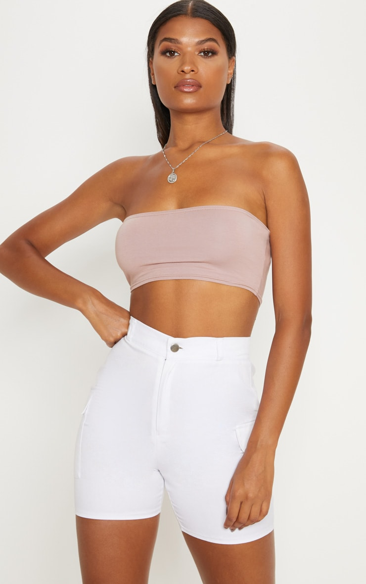 Dusty Pink Cotton Stretch Bandeau Crop Top  1