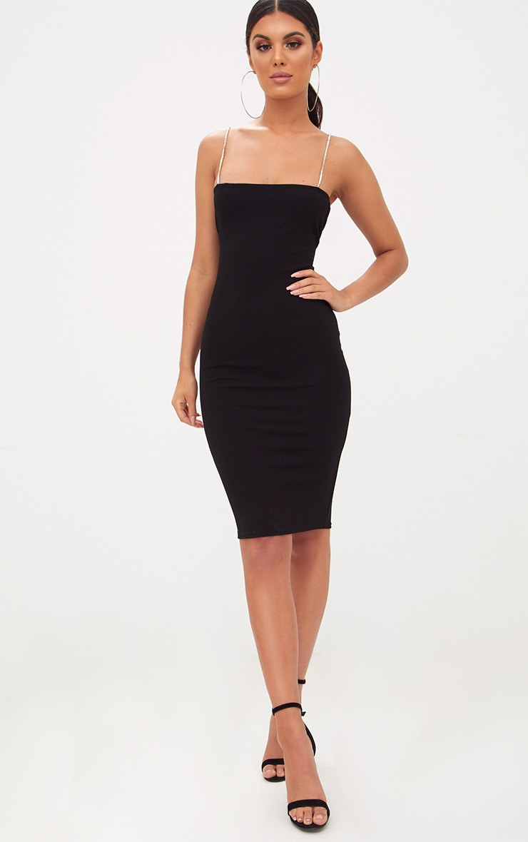 Black Diamante Strap Straight Neck Midi Dress 4