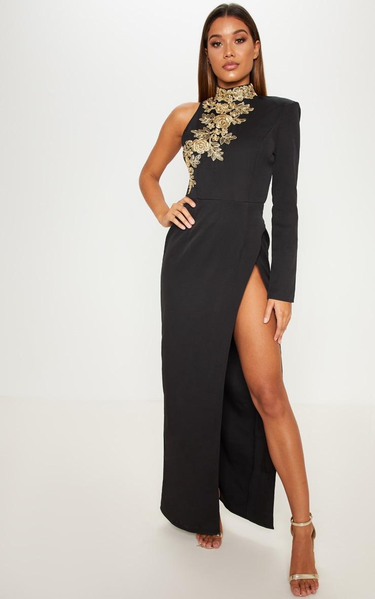 Black High Neck Asymmetric Embroidered Trim Maxi Dress 2