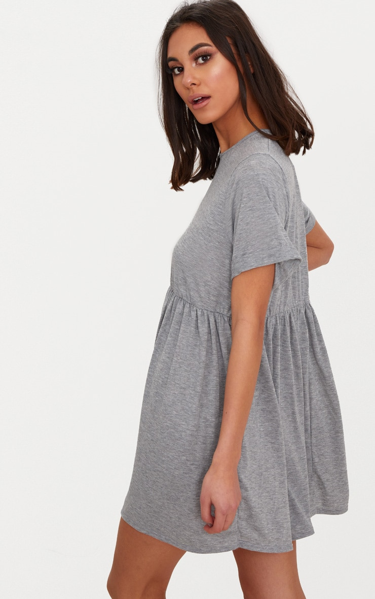 Grey Marl Jersey Oversized Smock Dress 2