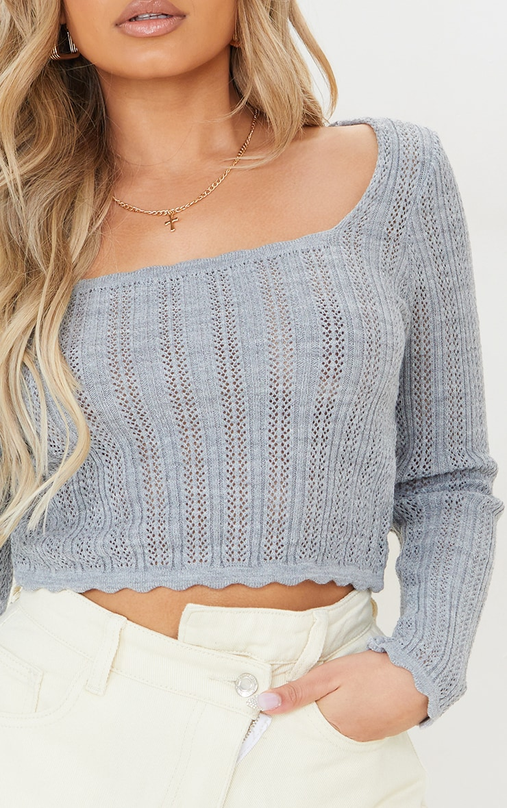 Petite Grey Pearl Knit Long Sleeve Knitted Top 4