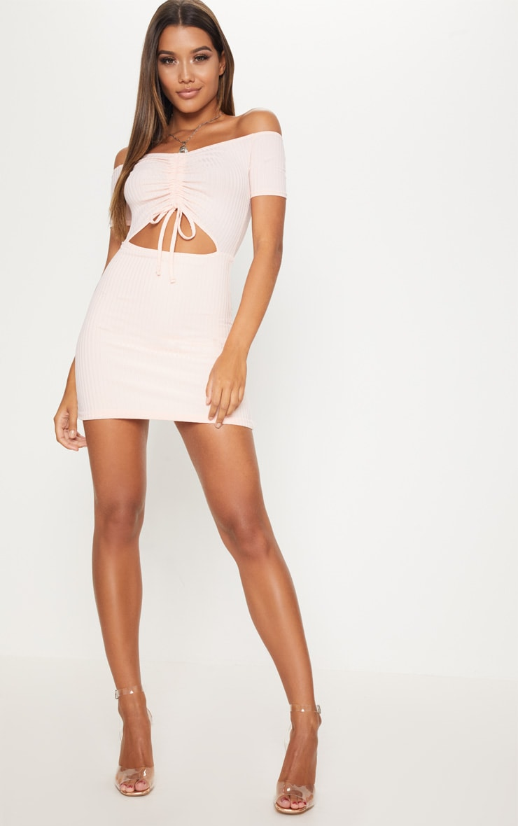 Dusty Pink Ruched Front Bardot Bodycon Dress 4