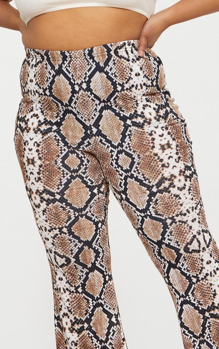 Plus Tan Snake Print Basic Flared Trousers 5