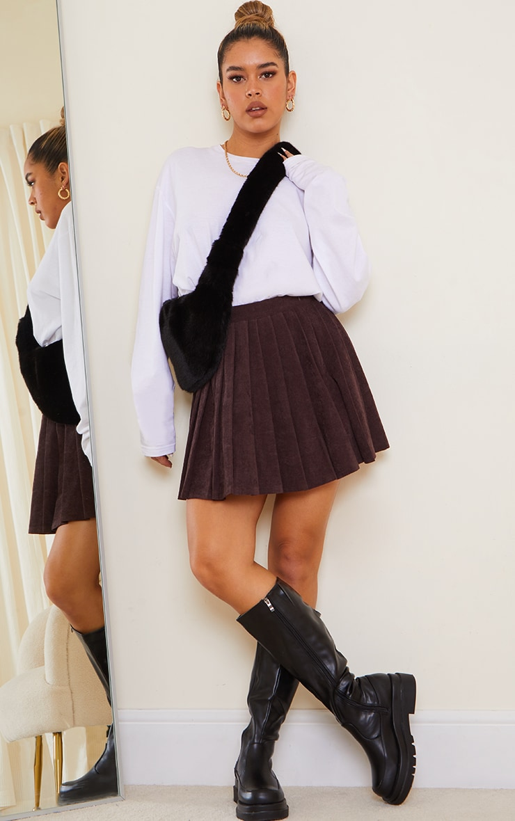 Chocolate Cord Skater Skirt 1
