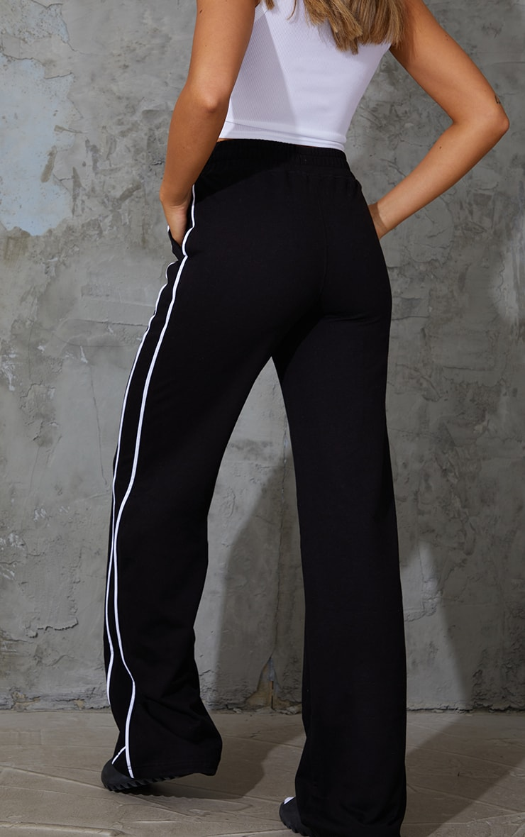Black Piping Detail Wide Leg Joggers 3