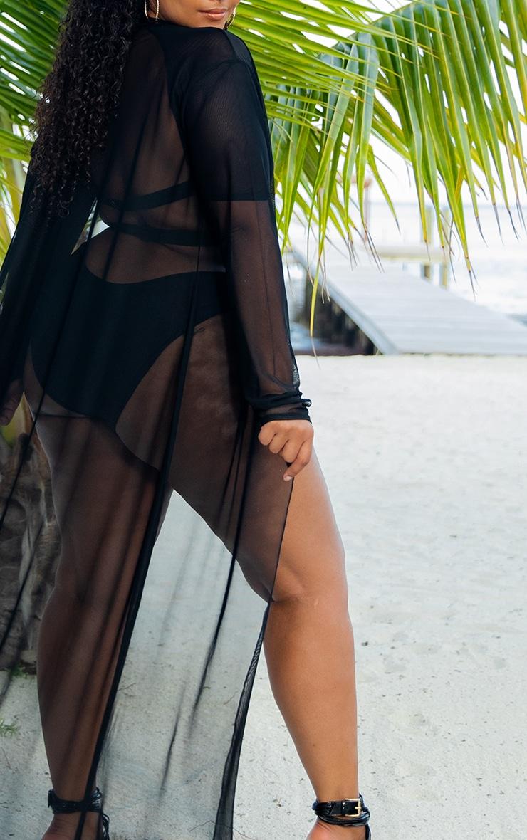 Plus Black Mesh Kimono 5