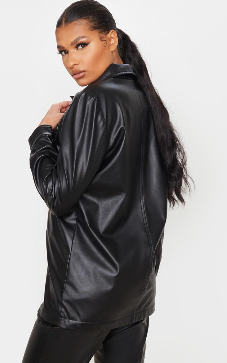 Black Faux Leather Longline Shirt Jacket 2