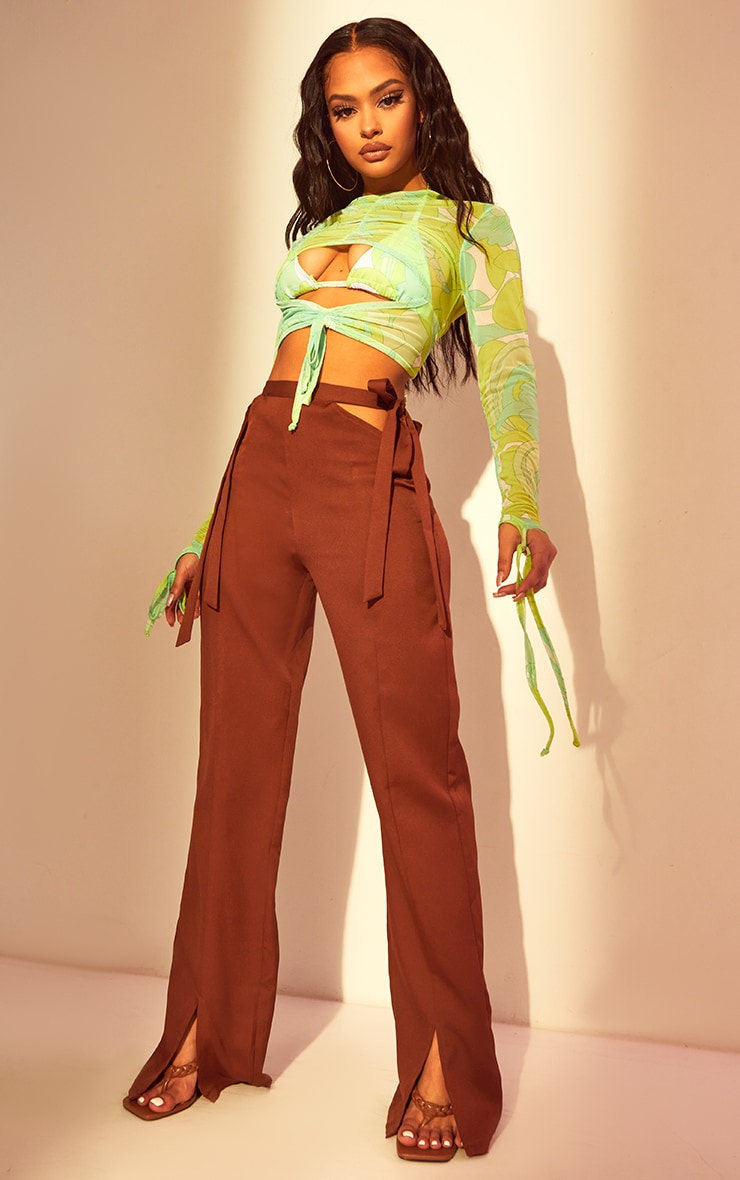 Chocolate Cut Out Waist Tailored Pants 1