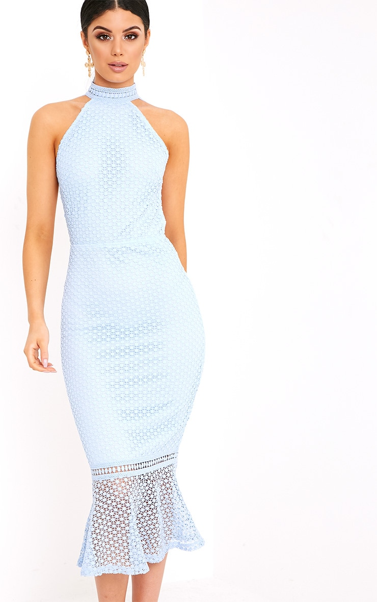 Kymmie Dusty Blue Lace High Neck Midi Dress  4