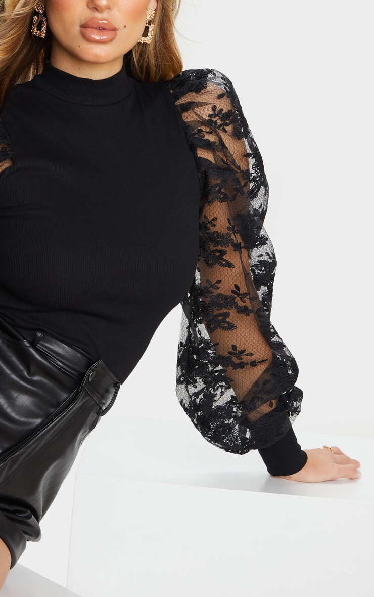 Black Floral Embroidered Puff Sleeve Rib Long Top 4