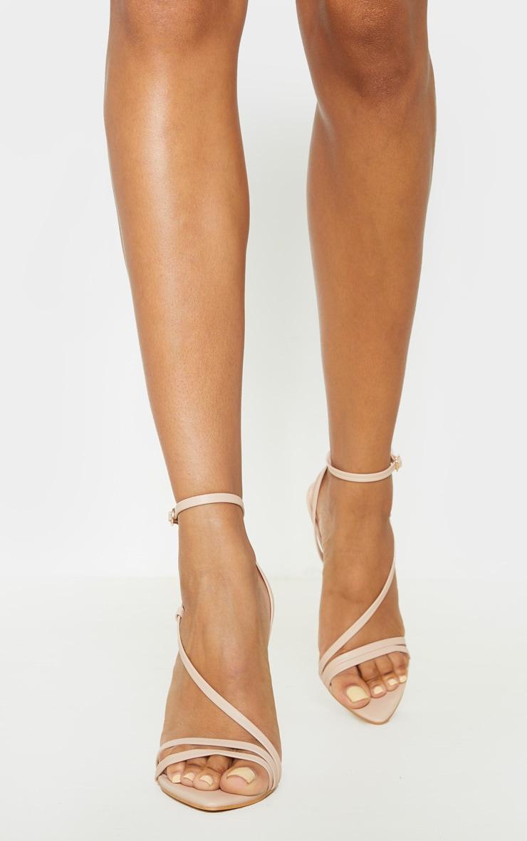 Nude Asymmetric Strappy Sandal 1