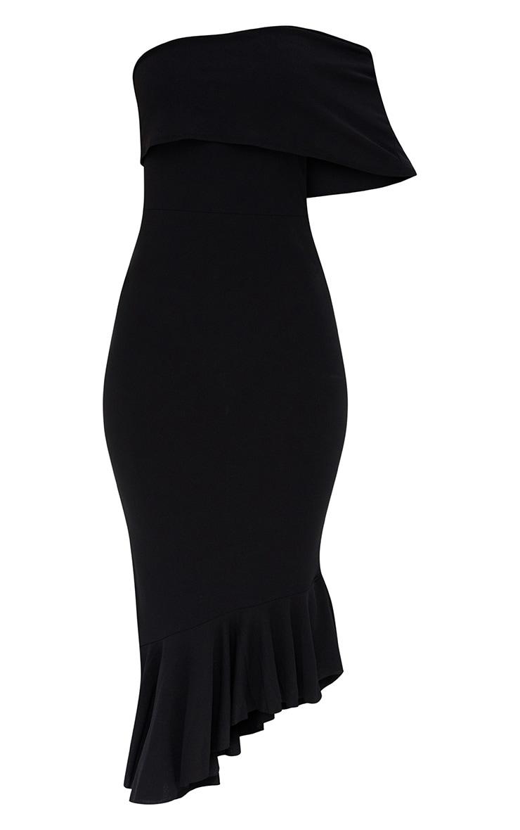 Black Asymmetric Bardot Frill Detail Midi Dress 3