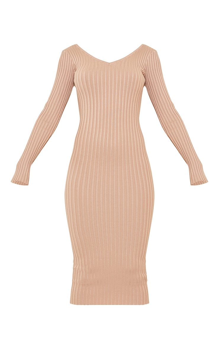 Stone Off Shoulder Rib Knitted Midaxi Dress 6