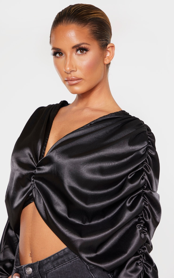 Black Satin Ruched Sleeve Blouse  5