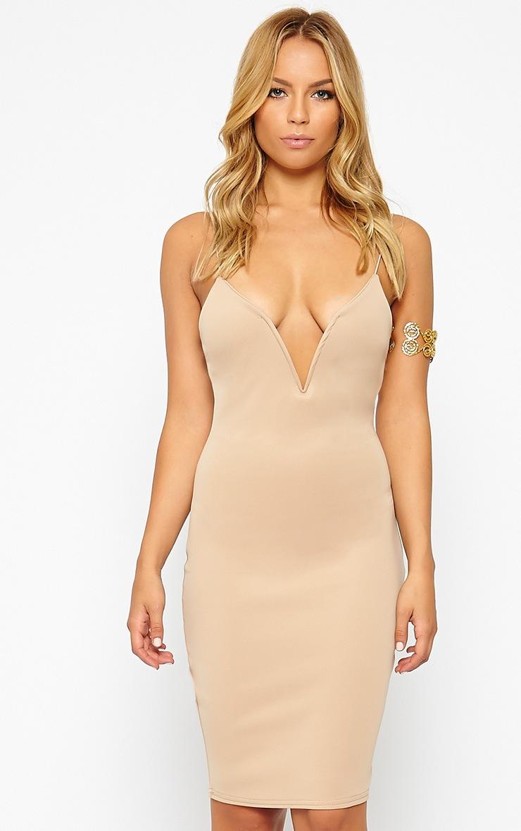 Marisole Stone Plunge Front V Bar Dress 4